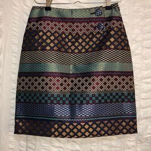 Anthro Maeve Audra Geometric Brocade Skirt